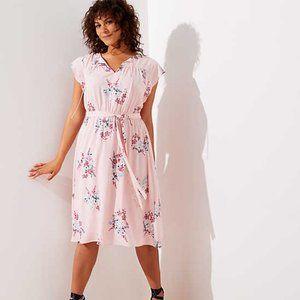 LOFT (M) Light Pink Bouquet Flutter Dress